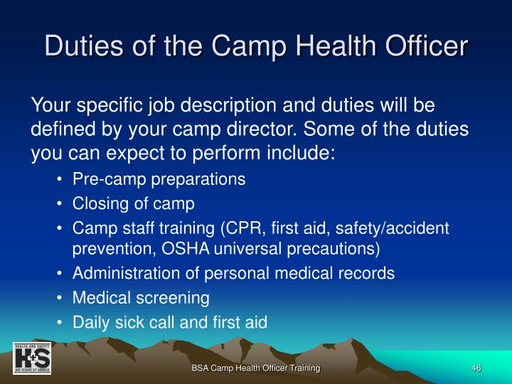 Duties of the Camp Health Officer