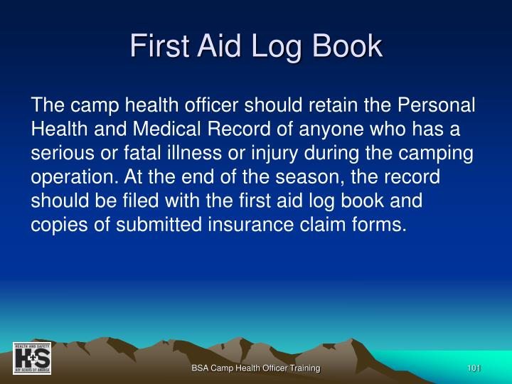 First Aid Log Book