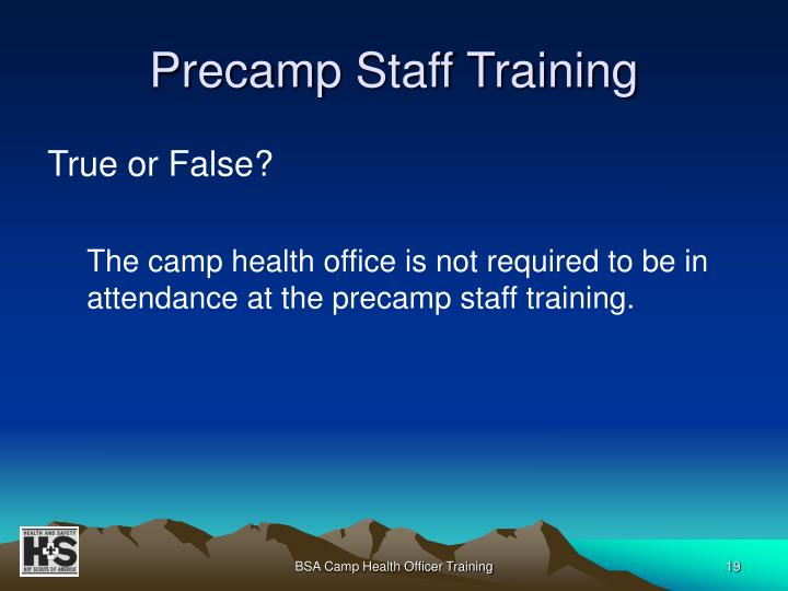 Precamp Staff Training
