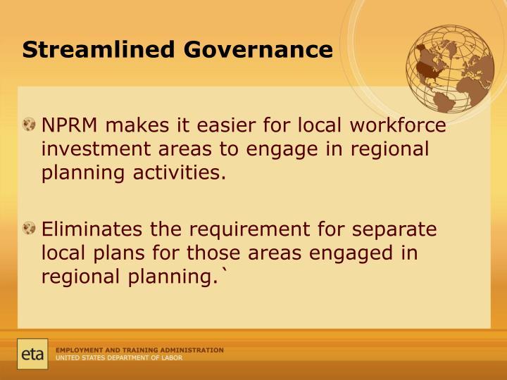 Streamlined Governance
