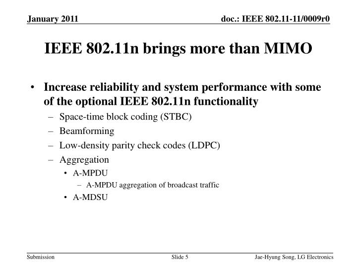 Increase reliability and system performance with some of the optional IEEE 802.11n functionality