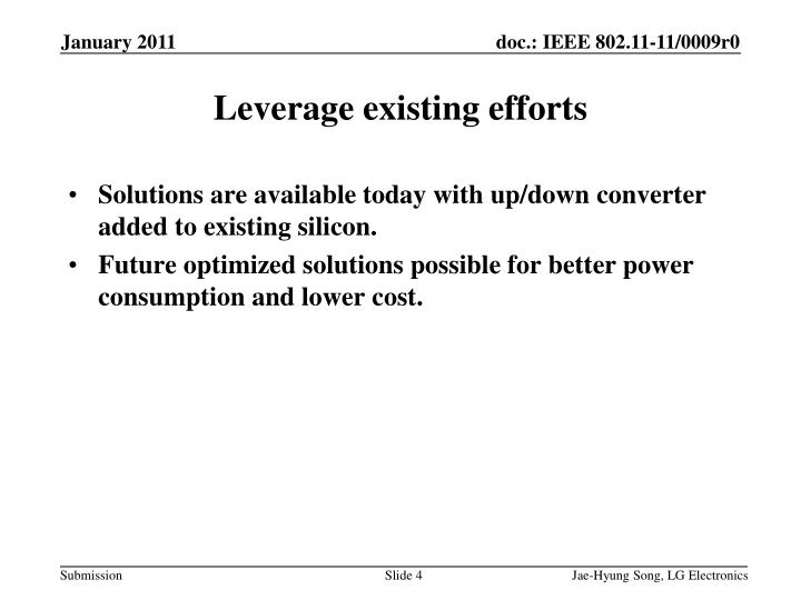 Solutions are available today with up/down converter added to existing silicon.