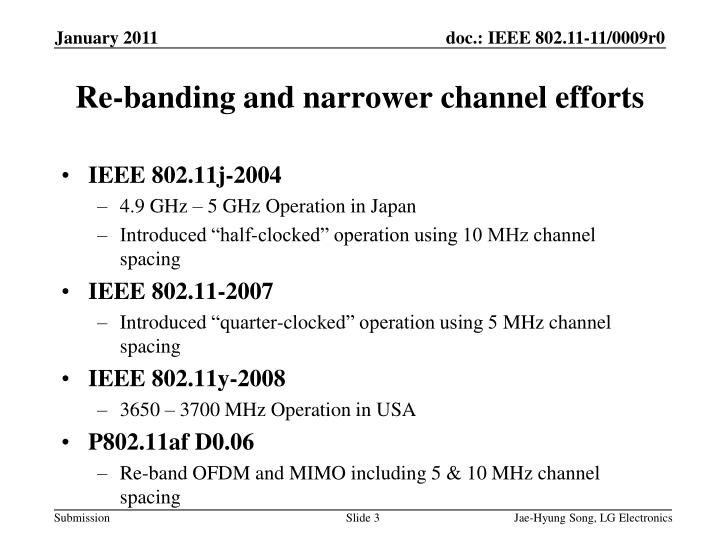 Re-banding and narrower channel efforts