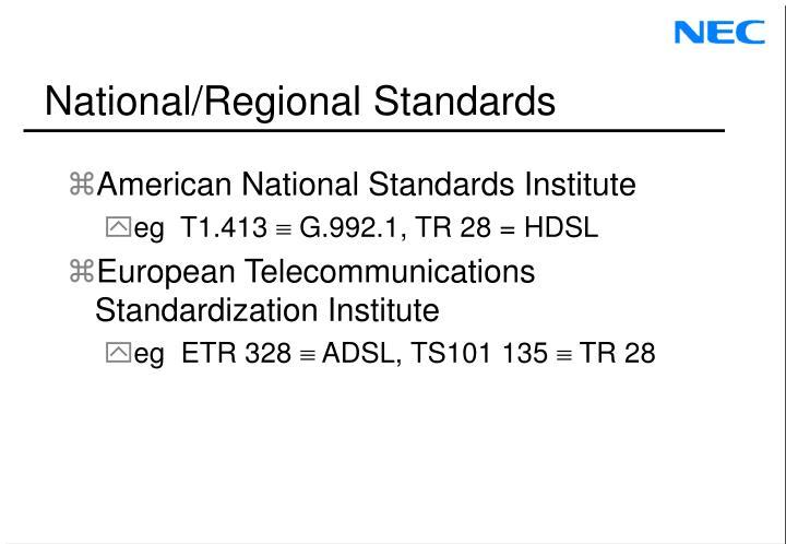 National/Regional Standards