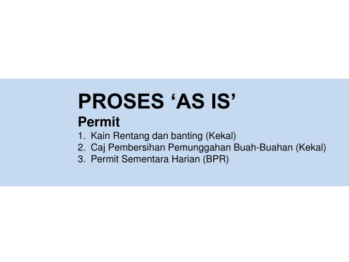 PROSES 'AS IS'