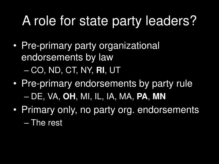 A role for state party leaders?