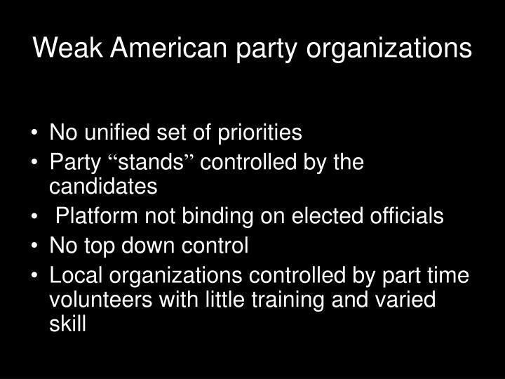 Weak American party organizations