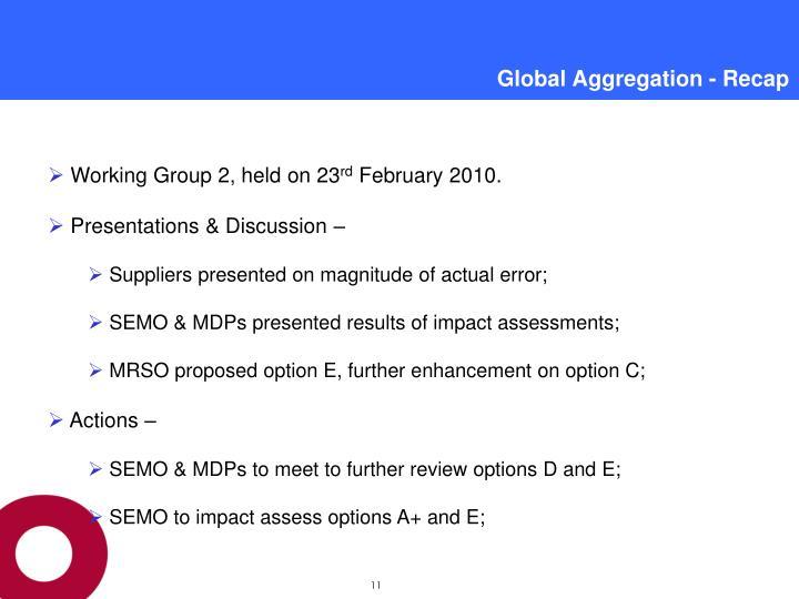 Global Aggregation - Recap