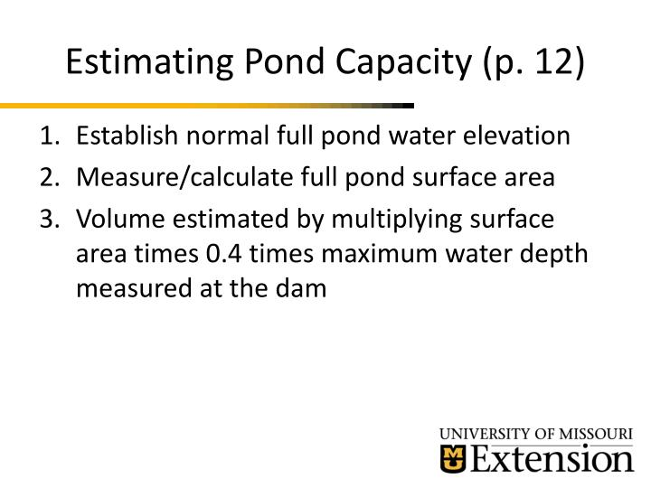 Estimating Pond Capacity (p. 12)