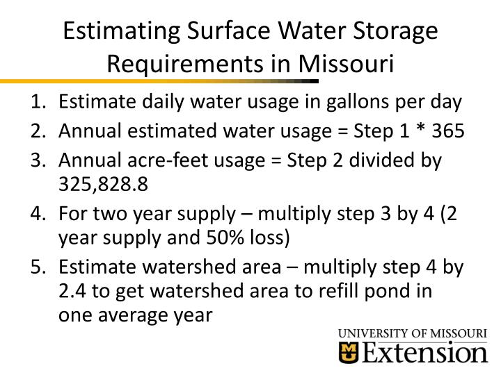Estimating surface water storage requirements in missouri