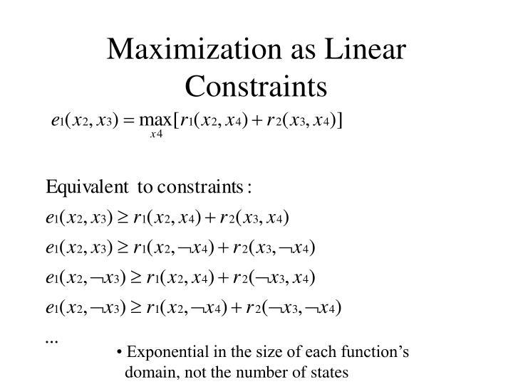 Maximization as Linear Constraints