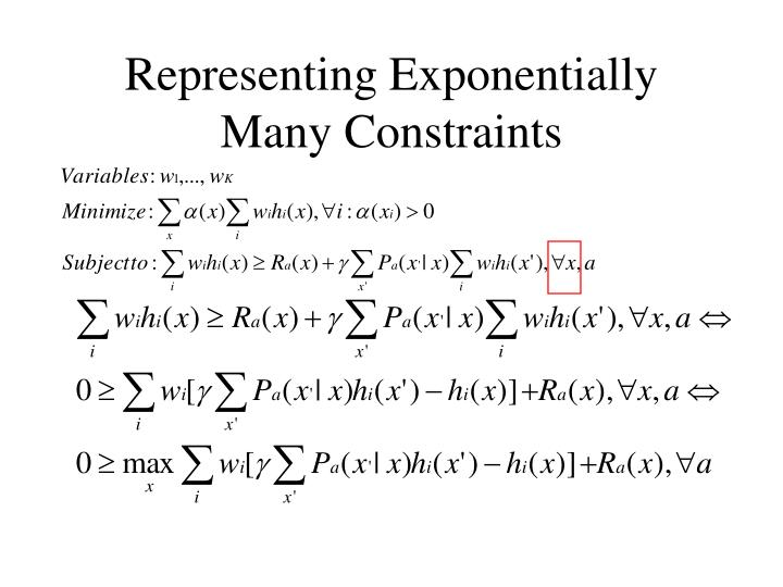 Representing Exponentially Many Constraints