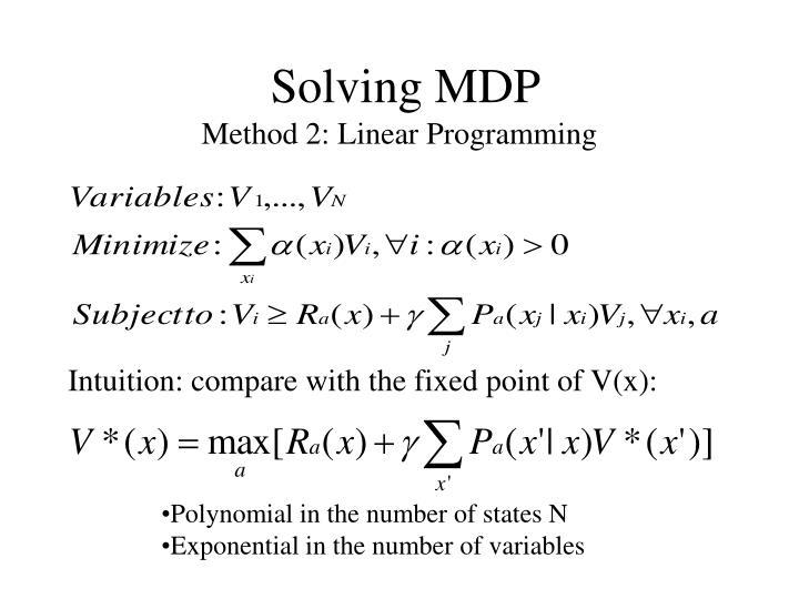 Solving MDP