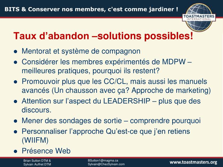 Taux d'abandon –solutions possibles!
