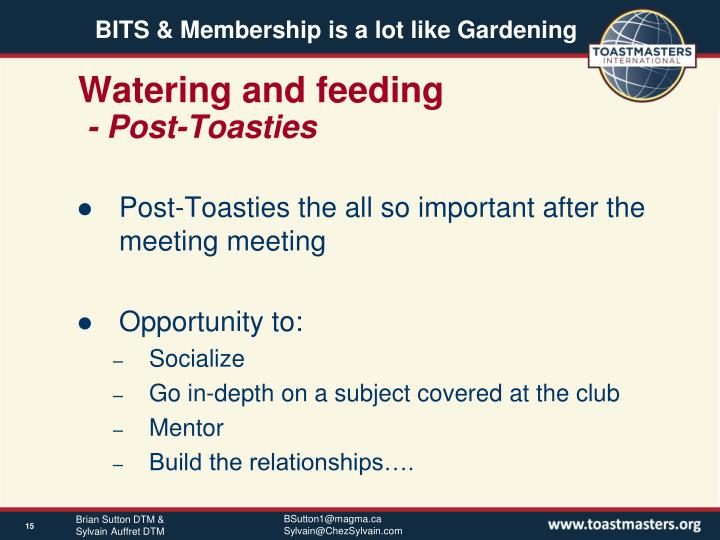 Watering and feeding