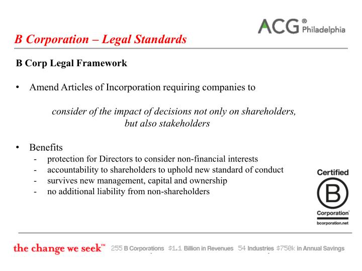 B Corporation – Legal Standards