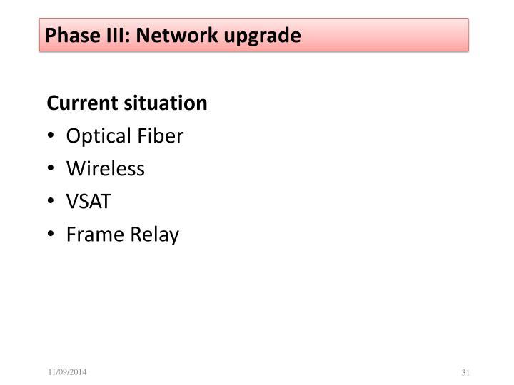 Phase III: Network upgrade