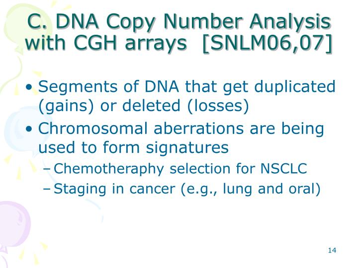 C. DNA Copy Number Analysis with CGH arrays  [SNLM06,07]