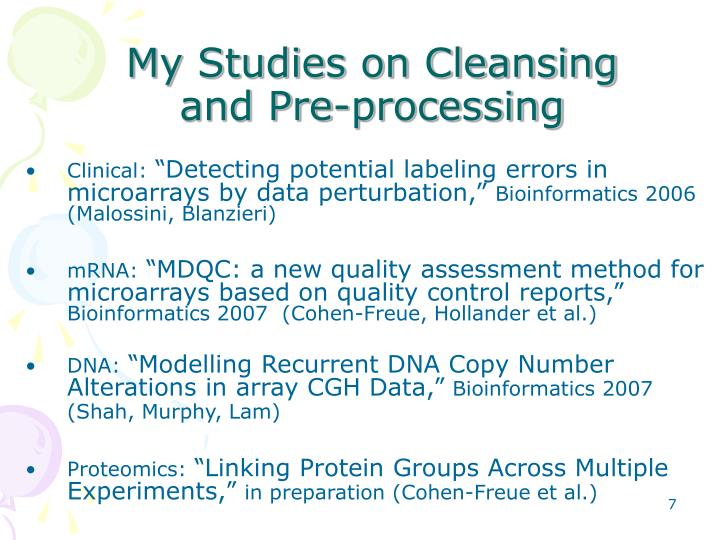My Studies on Cleansing and Pre-processing