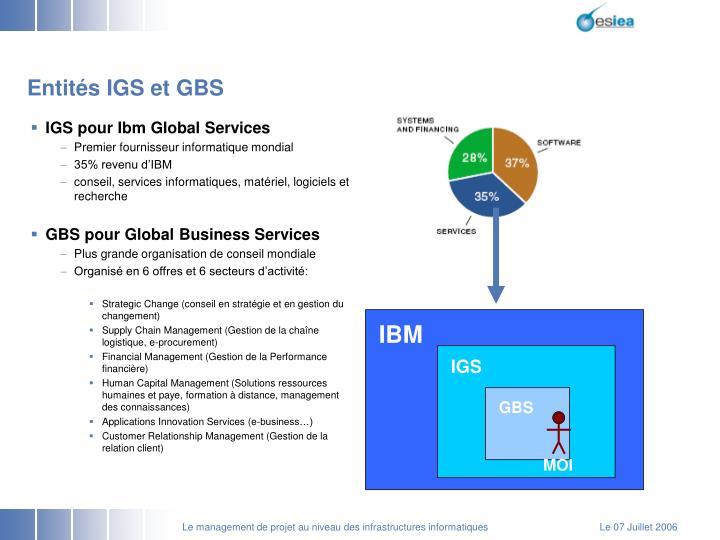 Entités IGS et GBS