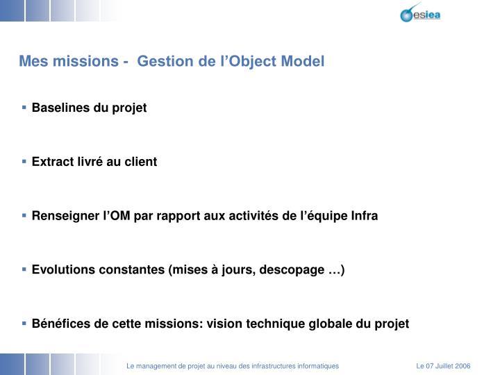 Mes missions -  Gestion de l'Object Model