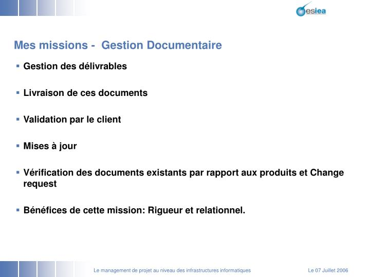 Mes missions -  Gestion Documentaire