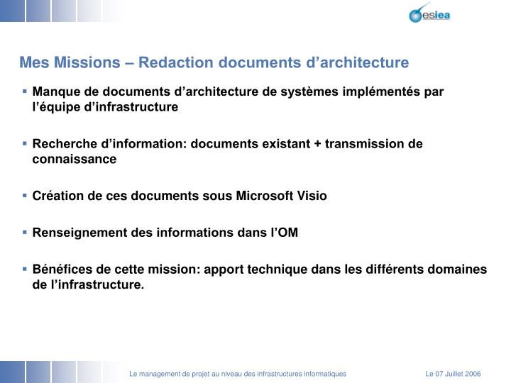 Mes Missions – Redaction documents d'architecture