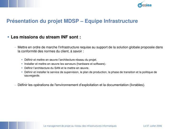 Présentation du projet MDSP – Equipe Infrastructure