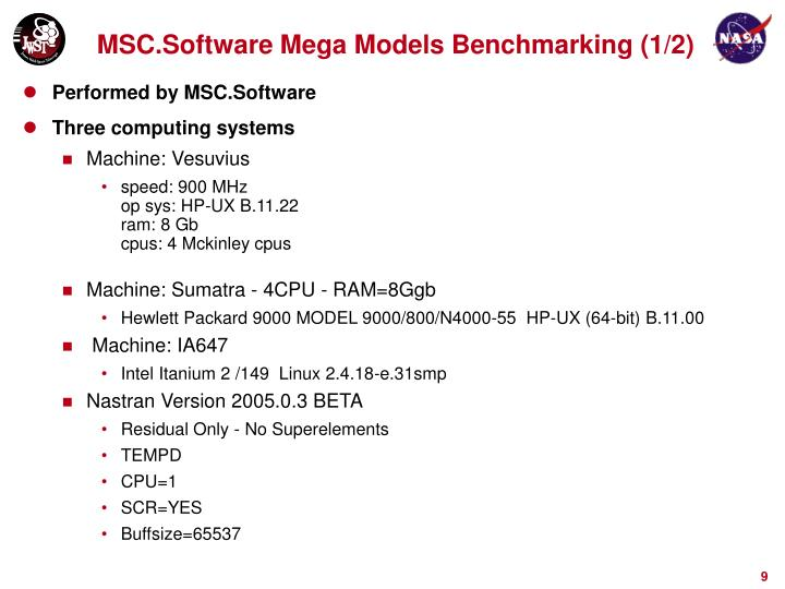 MSC.Software Mega Models Benchmarking (1/2)
