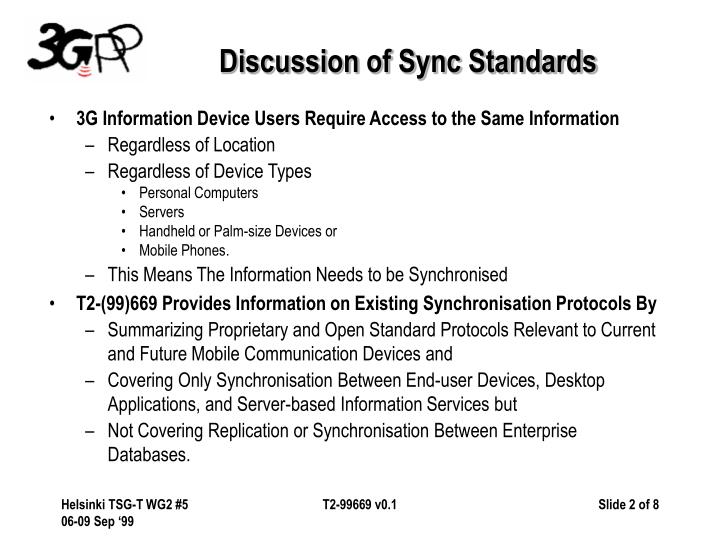 Discussion of Sync Standards