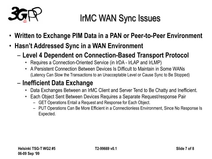 IrMC WAN Sync Issues