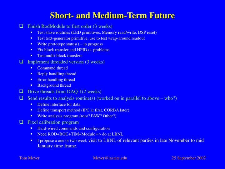 Short- and Medium-Term Future