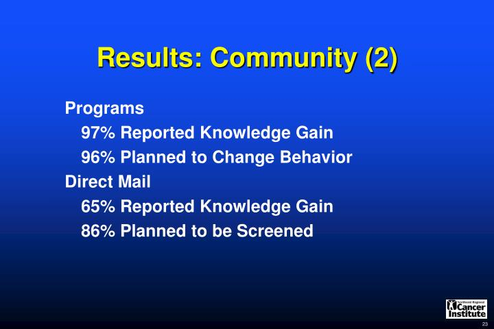 Results: Community (2)