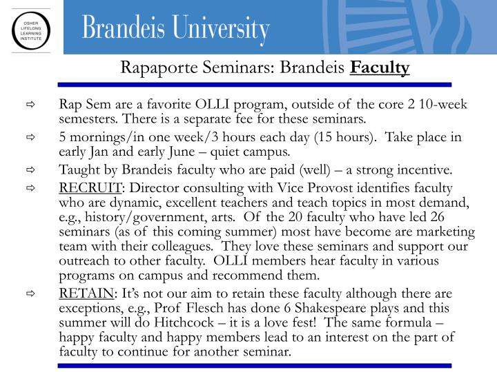 Rapaporte Seminars: Brandeis