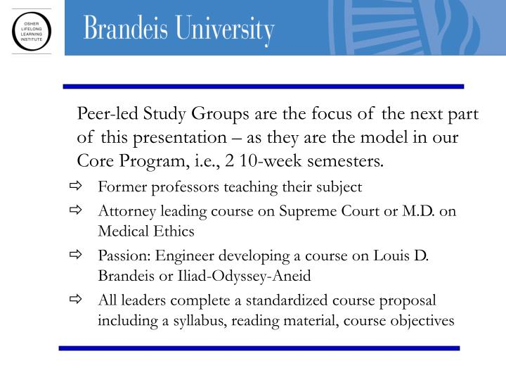 Peer-led Study Groups are the focus of the next part of this presentation – as they are the model in our Core Program, i.e., 2 10-week semesters.