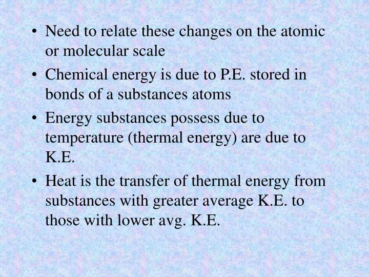 Need to relate these changes on the atomic or molecular scale