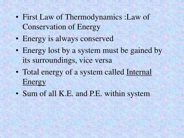 First Law of Thermodynamics :Law of Conservation of Energy