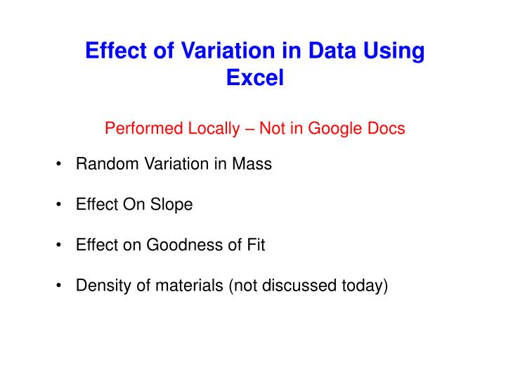 Effect of Variation in Data Using Excel