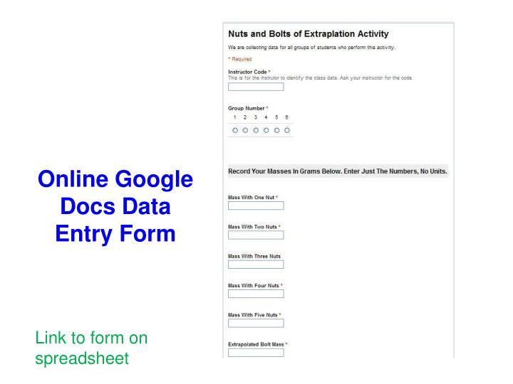 Online Google Docs Data Entry Form