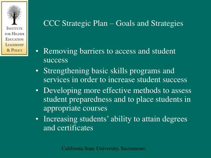 CCC Strategic Plan – Goals and Strategies