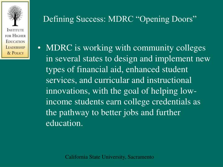 "Defining Success: MDRC ""Opening Doors"""