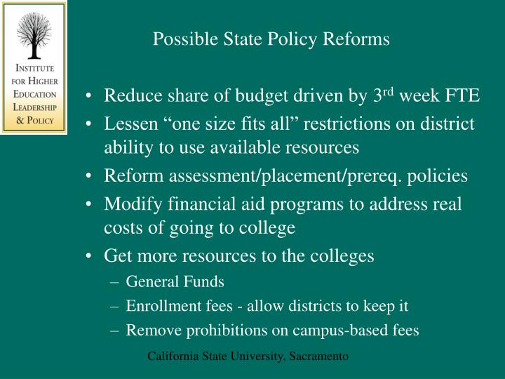 Possible State Policy Reforms