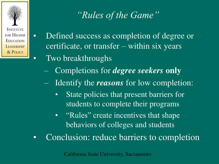 """""""Rules of the Game"""""""
