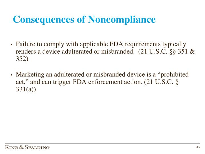 Consequences of Noncompliance