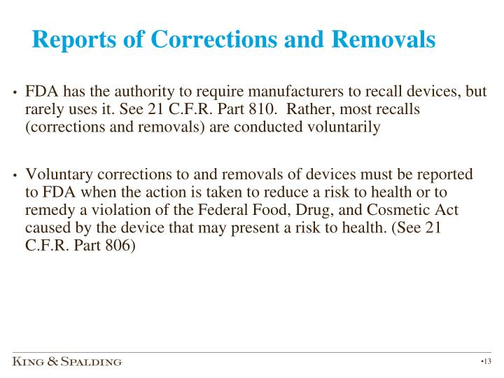 Reports of Corrections and Removals
