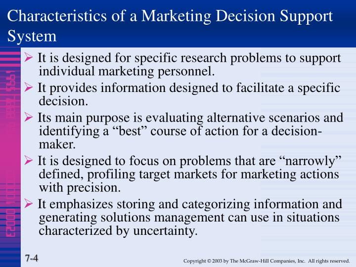 Characteristics of a Marketing Decision Support System