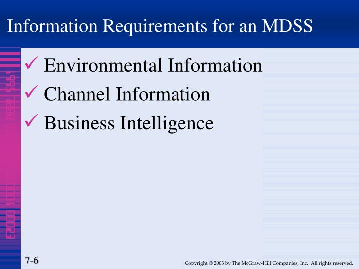 Information Requirements for an MDSS