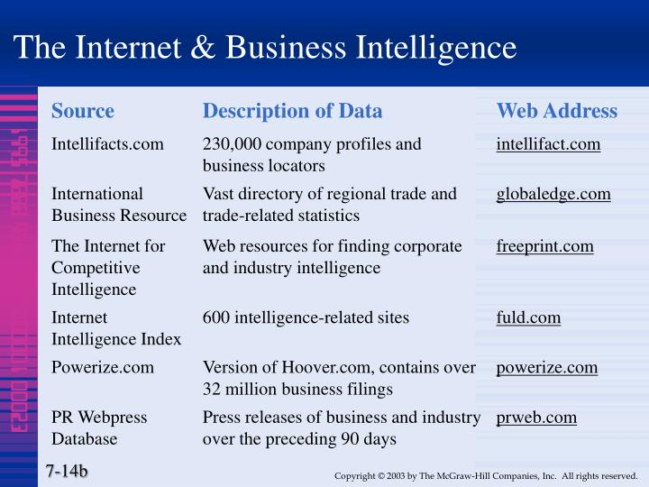 The Internet & Business Intelligence