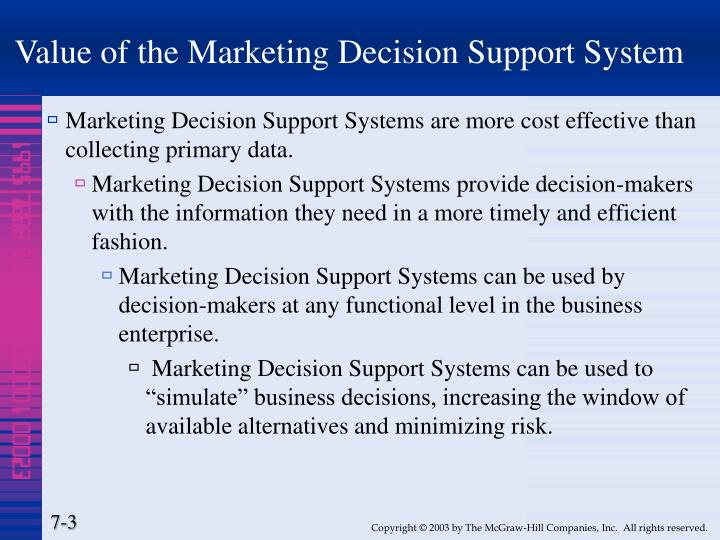 Value of the marketing decision support system