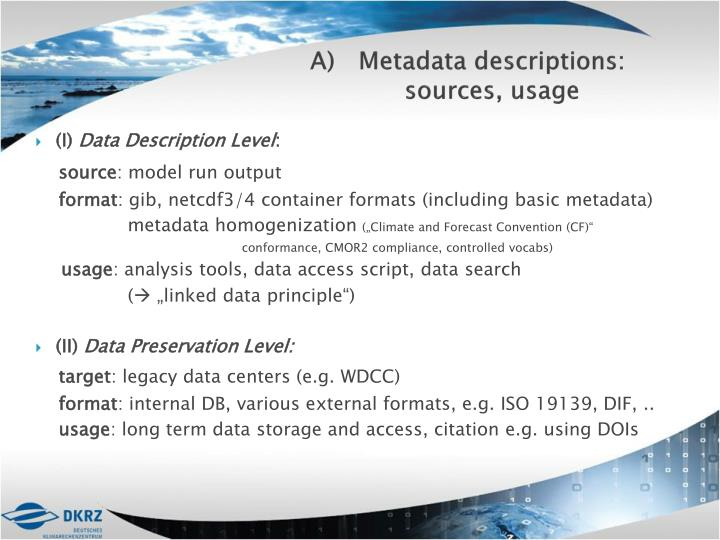 Metadata descriptions: